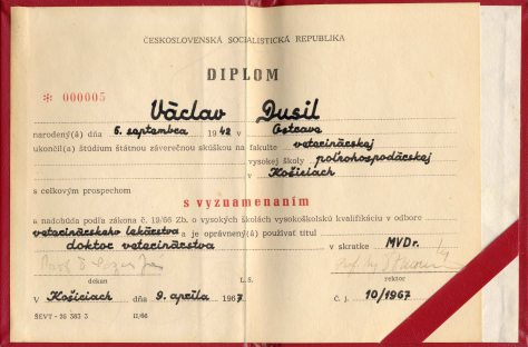 67.Apr.9 - Košice · Document, Vaclav Dusil (Veterinary Medicine, Honors Diploma, Czech)