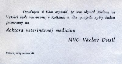 67.Apr.9 - Košice · Document, Vaclav Dusil (Veterinary Medicine, invitation)