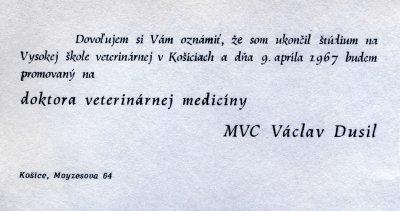 67.Apr.9 - Košice · Document, Vaclav Dusil (Veterinary Medicine, invitation)