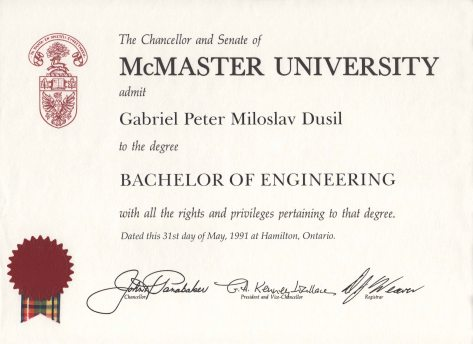 91.May - Hamilton · Gabriel Dusil (McMaster University, Engineering Physics, degree)