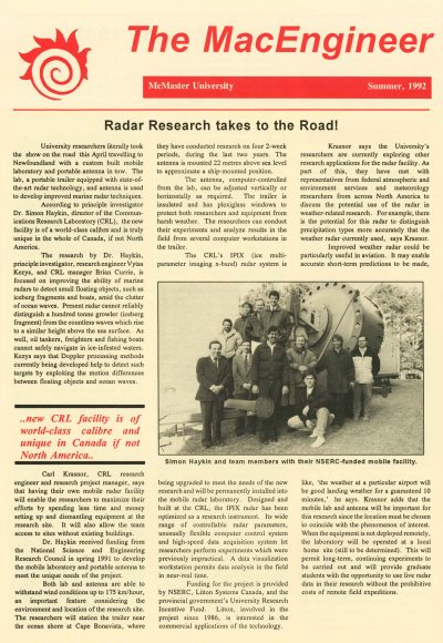 92.Jun - Hamilton · Radar Research Takes to the Road