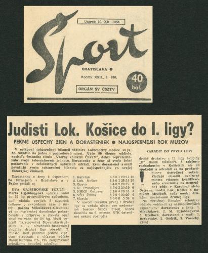 68.Dec.10 - Bratislava · Vaclav Dusil (Article, Šport Bratislava, Judisti Lokomotiva Košice do 1. ligy)