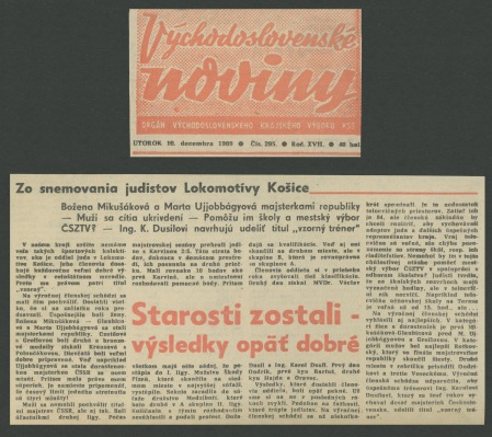69.Dec.10 - Košice · Vaclav Dusil (Article, Východoslovenské noviny, Zo snemovania judistov Lokomotivy Košice)