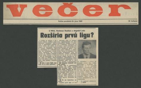 69.Jun.23 - Košice · Vaclav Dusil (Article, Večer, Rozšíria prvú ligu)