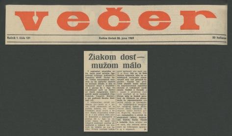 69.Jun.26 - Košice · Vaclav Dusil (Article, Večer, Žiakom dosť mužom málo)
