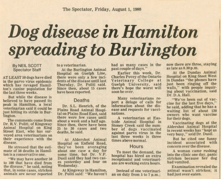 80.Aug.1 - Burlington · Vaclav Dusil (Article, Burlington Spectator, Dog Disease in Hamilton Spreading to Burlington)