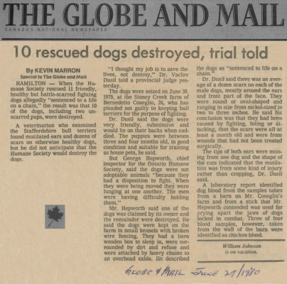 80.Jun.21 - Hamilton · Vaclav Dusil (Article, Globe and Mail, Ten Rescured Dogs Destroyed)