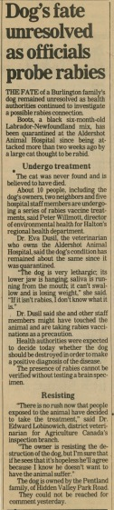 86.Jul.26 - Burlington · Eva Dusil (Article, Burlington Spectator, Dog's Fate Unresolved As Officials Probe Rabies)