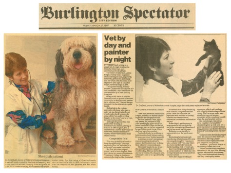 87.Mar.27 - Burlington · Eva Dusil (Article, Burlington Spectator, Vet by Day & Painter by Night)