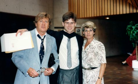 91.May.31 - Hamilton · Vašek Vasak, Gabriel & Eva Dusil (McMaster University, graduation, Convocation Ceremony)