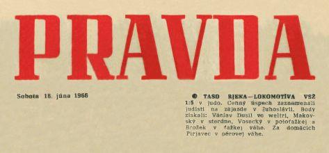 66.Jun.18 - Košice · Vaclav Dusil (judo Article, Pravda, TASD RJEKA Lokomotiva VSŽ)