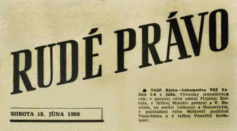 66.Jun.18 - Košice · Vaclav Dusil (judo Article, Rudé Právo, Lokomotivy VSŽ Košice)