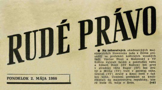 66.Jun.18 - Košice · Vaclav Dusil (judo Article, Rudé Právo, Na tohoročných)