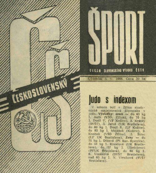 66.Jun.3 - Košice · Vaclav Dusil (judo Article, Československý Šport, Judo s indexom)