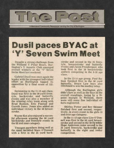 81.Apr.11 - Burlington · Post, Dusil Paces BYAC at Y Seven Swim Meet (BYAC swimming)