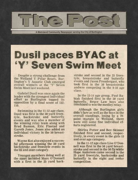 81.Apr.11 - Burlington · Post, Dusil Paces BYAC at Y Seven Swim Meet (BYAC swimming)