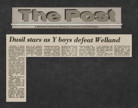 81.Apr.11 - Burlington · Post, Dusil Stars as Y Boys Defeat Welland (BYAC swimming)