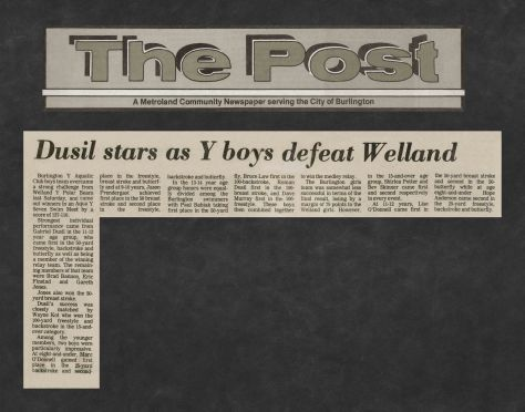 81.Apr.11 - Burlington · Post, Dusil Stars as Y Boys Defeat Welland (BYAC swimming)