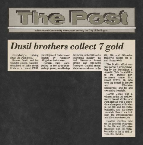 81.Mar.8 - Burlington · Post, Dusil Brothers Collect 7 Gold (BYAC swimming)