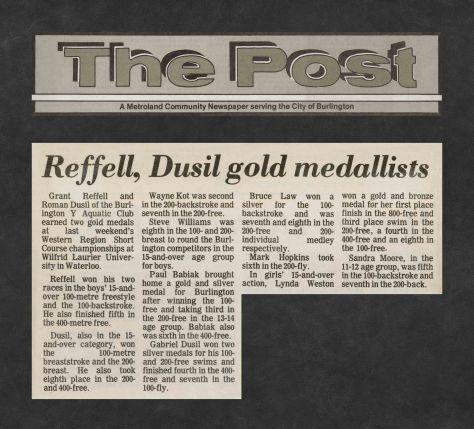 82.Feb.20 - Burlington · Post, Reffell & Dusil Gold Medallists (BYAC swimming)