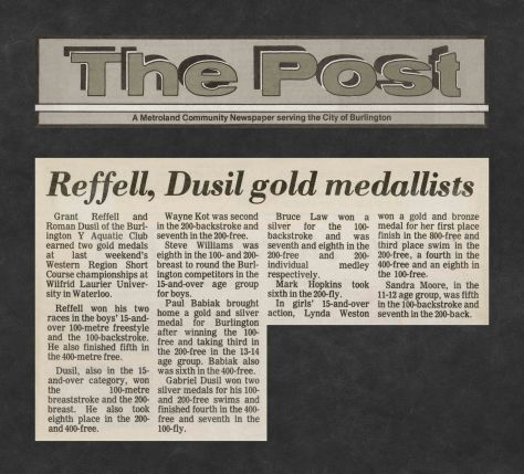 82.Feb.20 - Burlington · Post, Reffell & Dusil Gold Medallists (BYAC swimming)