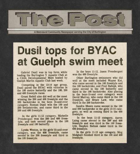 82.Oct.24 - Burlington · Post, Dusil Tops for BYAC at Guelph Swimm Meet (BYAC swimming)