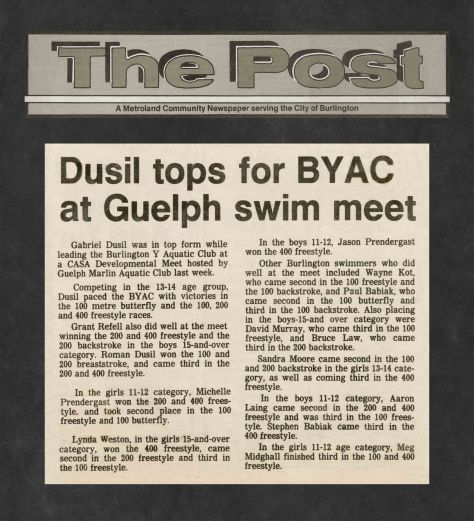 82.Oct.24 - Burlington · Post, Dusil Tops for BYAC at Guelph Swimm Meet (BYAC swimming)