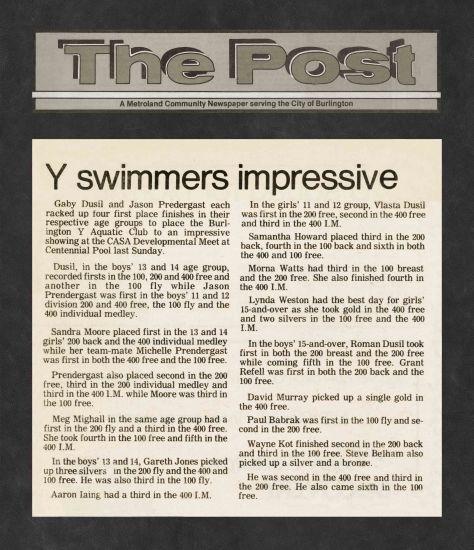83.Apr.10 - Burlington · Post, Swimmers Impressive (BYAC swimming)