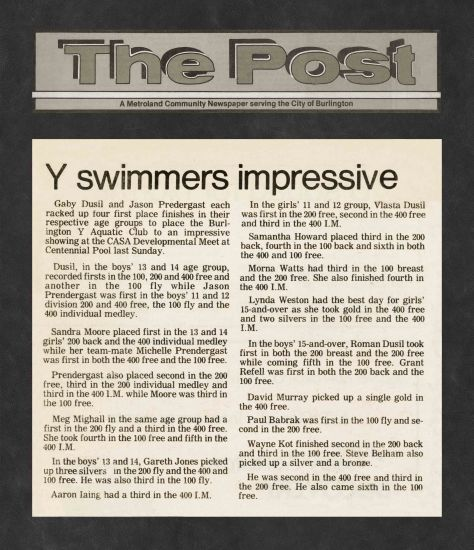 83.Apr.10 - Burlington · Post, Swimmers Impressive (BYAC swimming)