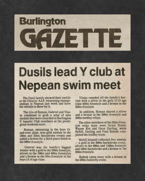 83.Apr.22 - Burlington · Gazette, Dusil's Lead Y Club at Nepean Swim Meet (BYAC swimming)