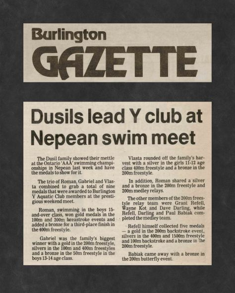 83.Apr.22 - Burlington · Gazette, Dusil's Lead Y Club at Nepean Swim Meet (BYAC swimming)