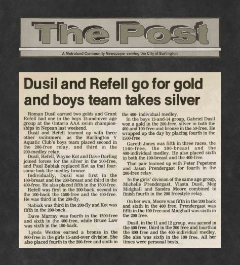 83.Apr.22 - Burlington · Post, Dusil & Refell Go For Gold and Boys Team Takes Silver (BYAC swimming)