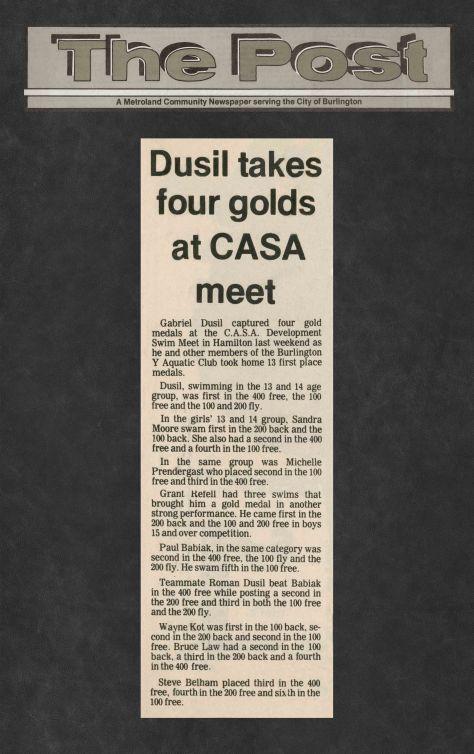 83.Feb.13 - Burlington · Post, Dusil Takes Four Golds at CASA Meet (BYAC swimming)
