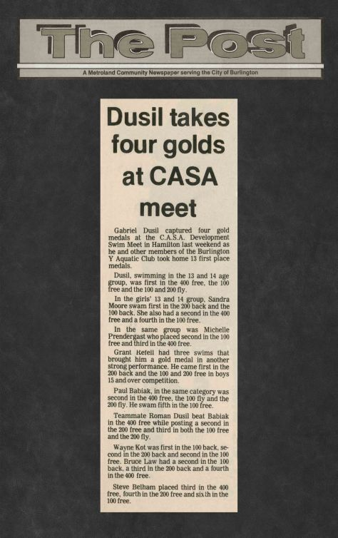 83.Feb.13 - Burlington · Post, Dusil Takes Four Golds at CASA Meet (BYAC swimming)