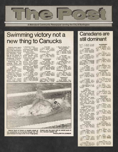 83.Jul.22 - Burlington · Post, Swimming Victory Not A New Thing to Canucks (BYAC swimming)