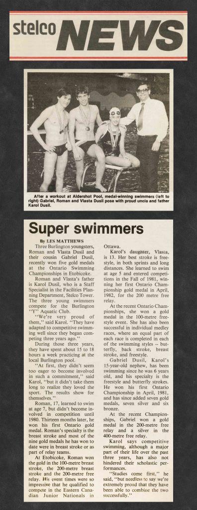 84.Apr - Burlington · Stelco News, Super Swimmers (BYAC swimming)