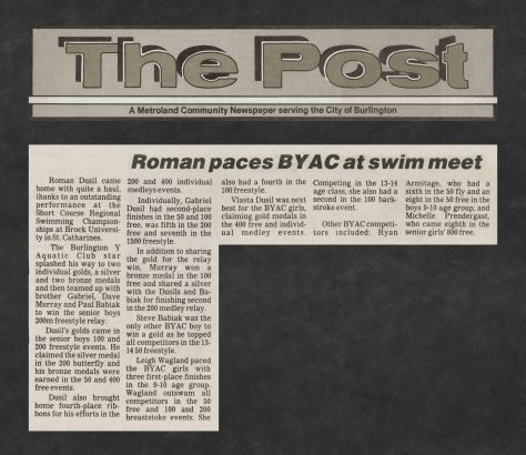 84.Feb - Burlington · Post, Roman Paces BYAC at Swim Meet (BYAC swimming)