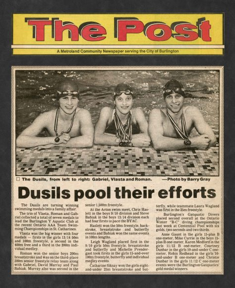 85.Apr - Burlington · Post, Dusil's Pool Their Efforts (BYAC swimming)