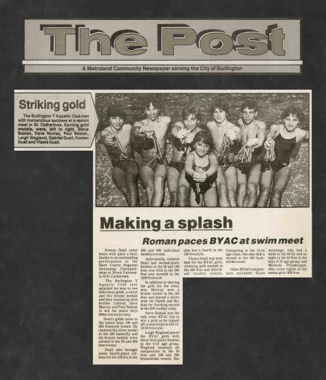 85.Feb.19 - Burlington · Post, Striking Gold, Making a Splash (BYAC swimming)