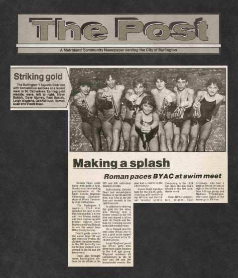 85.Feb.19 - Burlington · Post, Striking Gold, Making a Splash (BYAC swimming)