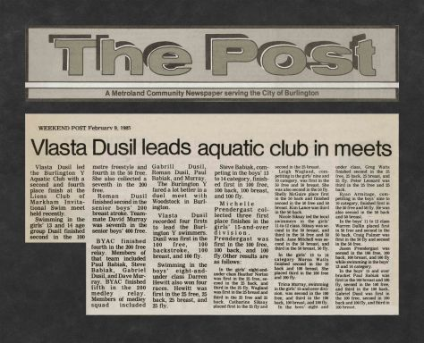 85.Feb.9 - Burlington · Post, Vlasta Dusil Leads Aquatic Club in Meets (BYAC swimming)