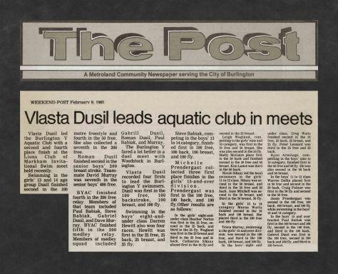 85.Feb.9 - Burlington · Post, Vlasta Dusil Leads Aquatic Club in Meets (BYAC swimming)