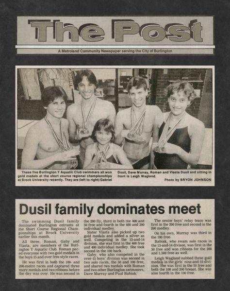 85.Feb - Burlington · Post, Dusil Family Dominates Meet (BYAC swimming)