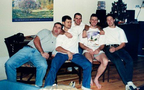 97.Dec - Burlington · Geoff Baxter, Gabriel Dusil, Ian Hawkins, Doug Little & Drew Schemmer (christmas party at Drew's, 1)